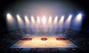 basketball court under the lights