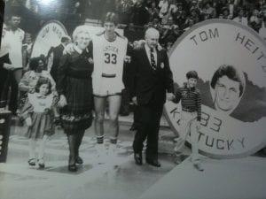 black and white photo of cory heitz at University of Kentucky senior day
