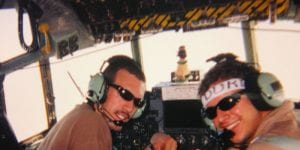 Flying over Iraq in C-130